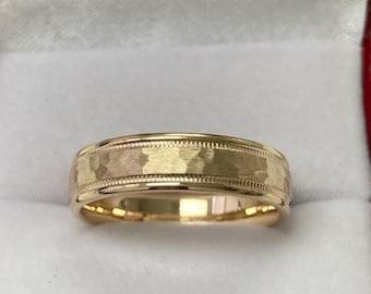 Yellow Gold Mens Wedding Bands, Milgrain Hammered Finish Mens Wedding Rings, 5mm 10K 14K 18K Solid Yellow Gold Wedding Bands
