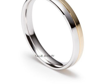 Custom Made  6mm 10K White and Yellow Gold Satin Finish Mens Wedding Ring, Two Tone Gold Wedding Band