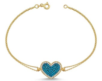14K Yellow Gold Heart Bracelet,  Turquoise Heart Bracelet, Beaded Turquoise Heart Bracelet, Heart Bracelet, Gift for Her, Valentines Days