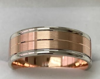Two Tone Gold Wedding Bands, ,7mm 14K Solid White and Rose Gold Mens Wedding Rings, Two Tone Gold Mens Wedding Bands, Two Tone Rings