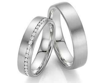 His and Hers Platinum Diamond Wedding Bands, Matching Wedding Rings Set , Couple Wedding Rings, Platinum Diamond Wedding Rings
