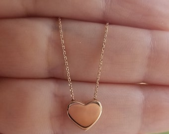 14K Solid Rose Gold Heart Necklace, Minimalist  Heart Necklace, Floating Heart Necklace, Dainty Heart Necklace, Gifts for Her