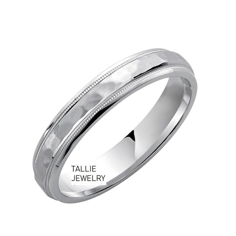 4mm,10K,14K,18K White Gold Wedding Bands,Milgrain Hammered Finish Mens or Womens Wedding Rings,Two Tone Wedding Bands,Matching Wedding Rings