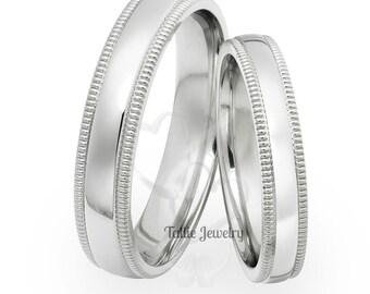 His and Hers Platinum Wedding Bands, Platinum Matching Wedding Rings Set ,Platinum Plain Wedding Bands, Shiny Finish Milgrain Platinum Rings