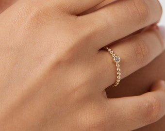 Solitaire Ring, 14K Solid Yellow Gold  Solitaire Ring, Solitaire Engagement Ring, Twisted Gold Ring, Promise Ring, Diamond Cz Solitaire Ring