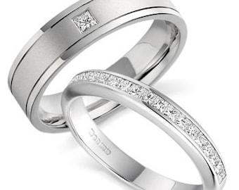 His & Hers Princess Cut Diamond Wedding Bands, Matching Wedding Rings Set , 10K 14K 18K Solid White Gold Diamond Wedding Bands