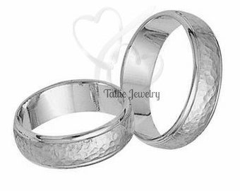 5mm 10K 14K 18K White Gold His and Hers Wedding Rings, Hammered Matching Wedding Bands Set, Couple Wedding Rings, His & Hers Wedding Bands