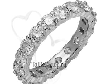 Platinum Diamond Eternity Ring  ,Diamond Eternity Wedding Band, 2.70 Carats Platinum Diamond Rings, Diamond Eternity Band