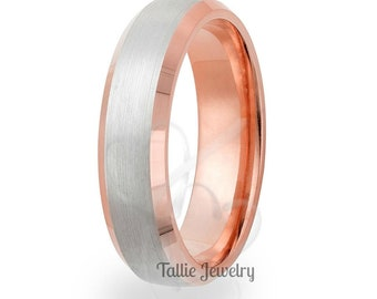 Two Tone Gold Wedding Bands, 5mm,10K 14K 18K Solid White and Rose Gold Mens Wedding Rings, Matching Wedding Bands, His & Hers Wedding Rings