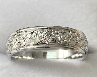 Hand Engraved White Gold Mens Wedding Bands, Hand Engraved Mens Wedding Rings , 6mm 10K 14K 18K Solid White Gold  Wedding Bands
