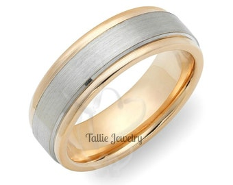 Two Tone Gold Wedding Rings, 6mm 14K Solid White and Yellow Gold  Mens Wedding Bands, Mens Wedding Rings,  Two Tone Gold Wedding Bands