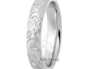 4mm 10K 14K 18K Solid White Gold Hand Engraved Wedding Rings, Hand Engraved Mens Wedding Band, Hand Engraved Mens Wedding Ring