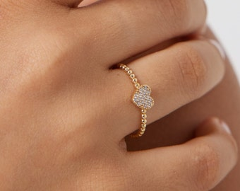 Heart Ring, 14K Solid Yellow Gold Heart Ring, Twisted Diamond Heart Ring, Minimalist Heart Ring, Dainty Heart Ring,  Diamond Cz Heart Ring
