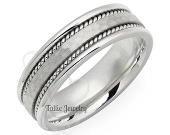 Hammered Finish Platinum Mens Wedding Bands , Platinum Mens Wedding Ring,  Handmade Braided Platinum Wedding Band, Braided Mens Wedding Ring