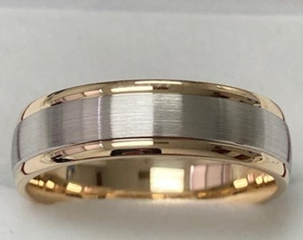 Two Tone Gold Wedding Bands, 6mm 10K 14K 18K White and Yellow Gold Mens Wedding Rings, Mens Wedding Bands, Two Tone Gold Wedding Rings