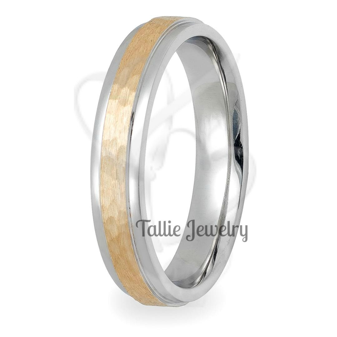7b27ee2165187f Hammered Finish Two Tone Gold Wedding Rings, 4mm,10K,14K,18K ...