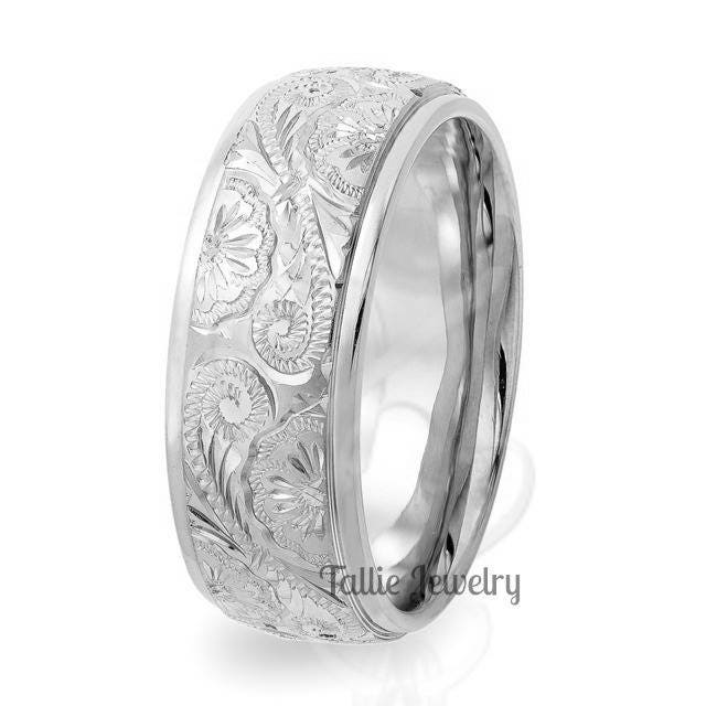 Mens White Gold Wedding Bands Hand Engraved Mens Wedding Ring 8mm 10k 14k 18k White Gold Mens Wedding Band Hand Engraved Wedding Rings