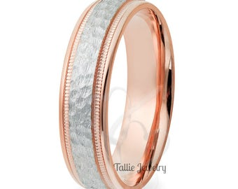 Two Tone Wedding Bands, 6mm 10K 14K 18K White and Yellow Gold Hammered Finish Mens or Womens Wedding Rings, Two Tone Gold Wedding Bands