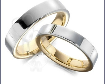 His & Hers Wedding Rings, Matching Wedding Bands Set, 10K 14K 18K Solid White and Yellow Gold Wedding Rings ,Two Tone Gold Wedding Bands