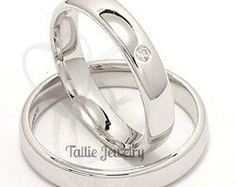 His and Hers Platinum Wedding Bands, Platinum Matching Wedding Rings Set, Platinum Diamond Wedding Bands, Rings for Men, Rings for Women