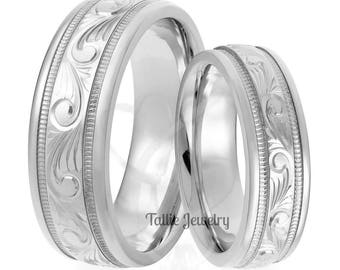 Hand Engraved His and Hers Wedding Bands, Hand Engraved Matching Wedding Rings Set ,10K 14K 18K Solid White Gold Hand Engraved Wedding Bands