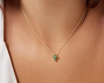 14K Yellow Gold Cross Necklace, Emerald Cross Necklace, Diamond Cross Pendant Necklace, Dainty Cross Necklace ,Minimalist Cross Necklace