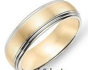 Two Tone Gold Wedding Bands, 6mm,10K,14K,18K White and Yellow Gold Mens Wedding Rings, Two Tone Gold Mens Wedding Bands, Mens Wedding Rings