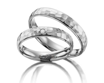 His & Hers Wedding Bands, Matching Wedding Rings Set ,10K 14K 18K Solid White Gold Hammered Finish Wedding Bands, His and Hers Wedding Rings