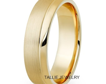 6mm 10K 14K 18K Solid Yellow Gold Wedding Bands, Satin Finish Mens Wedding Rings, Mens Wedding Bands, His & Hers Wedding Rings