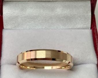 Yellow Gold Mens Wedding Band, Satin Finish Beveled Edge Mens Wedding Ring, 4mm 14K  Yellow Gold Wedding Bands,  His & Hers Wedding Rings