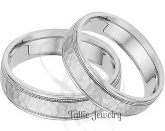 Hammered Finish His and Hers Wedding Bands, Matching Wedding Bands Set, Couple Wedding Rings, 6mm 10K 14K 18K Solid White Gold Wedding Bands