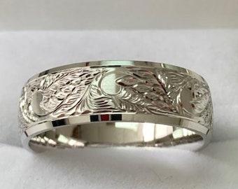 Hand Engraved Platinum Mens Wedding Bands, Platinum Hand Engraved Mens Wedding Rings, Hand Engraved Wedding Bands, Rings for Men