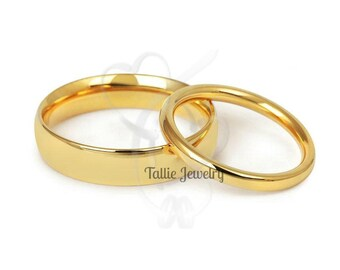 Matching Wedding Bands Set , His and Hers Wedding Bands, Couple Wedding Ring, 10K 14K 18K Solid Yellow Gold Wedding Bands
