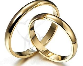 10K 14K 18K Solid Yellow Gold Wedding Bands, His and Hers Wedding Rings, Matching Wedding Ring Set,  Shiny Finish Plain Wedding Bands