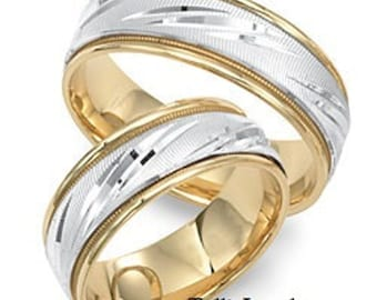 His and Hers Wedding Bands, 18K Yellow Gold and Platinum Wedding Rings, Matching Wedding Bands Set, Platinum Wedding Bands