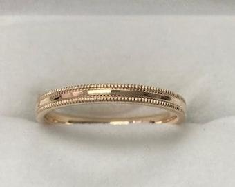 2mm 10K 14K 18K Yellow Gold Wedding Bands,  Mens & Womens Wedding Rings,  Milgrain Dome Plain Wedding Band,  Rings for Men,  Rings for Women