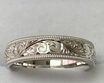 Hand Engraved Wedding Bands ,Hand Engraved Wedding Ring, 5mm 10K 14K 18K  White Gold Hand Engraved Mens Wedding Bands,  Mens Wedding Rings