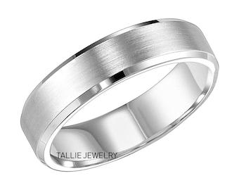Mens Platinum Wedding Band ,  Platinum Mens Wedding Ring, Beveled Edge Satin Finish Platinum Wedding Bands, His & Hers Wedding Rings