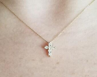 Diamond Cross Necklace,14K Gold Diamond Cross Necklace, 0.18 Ct. Small Cross Pendant Necklace, Dainty Cross, Minimalist Cross Necklace