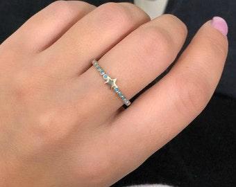 Star Ring, 14K Gold Star Ring, Turquoise Star Ring, Minimalist Star Ring, Turquoise  Ring, Dainty Star Ring, Turquoise Ring, Small Star Ring