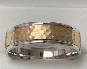 Hammered Finish Mens Wedding Bands,, 6mm 10K 14K 18K White and Yellow Gold Mens Wedding Rings, Two Tone Gold Wedding Bands, Rings for Men