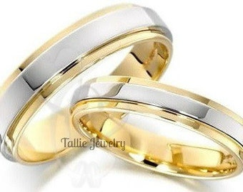 His & Hers Wedding Rings, Matching Wedding Bands, 10K 14K 18K White and Yellow Gold Mens Womens Wedding Rings, Two Tone Gold Wedding Bands