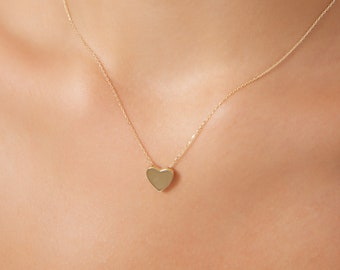 Heart Necklace, 14K Solid Yellow Gold Heart Necklace, Minimalist Heart Necklace, Floating Gold Heart Necklace, Dainty Heart Necklace