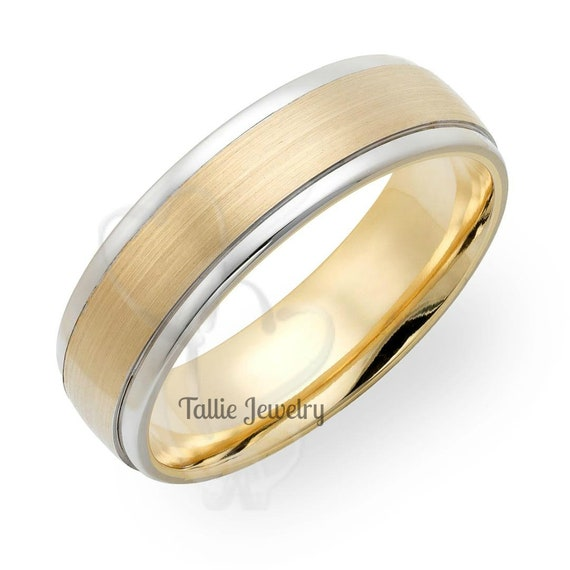 14k Two Tone Gold Mens Wedding Band