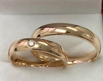 His and Hers Wedding Rings, Matching Wedding Bands Set, Couple Wedding Rings, 4mm 10K 14K 18K Solid Yellow Gold Diamond Wedding Bands