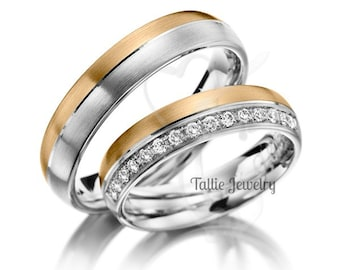 His & Hers Diamond Wedding Bands, Matching Wedding Rings Set , His and Hers Two Tone Gold Wedding Bands, Couple Wedding Rings