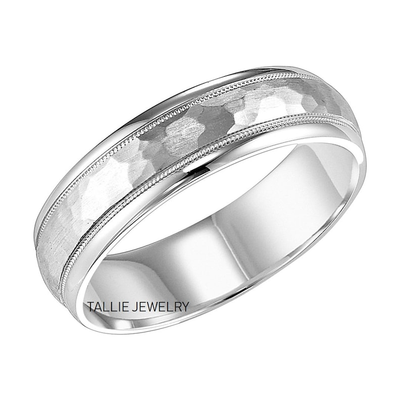 White Gold Mens Wedding Bands.6mm 10k 14k 18k White Gold Mens Wedding Bands Milgrain Hammered Finish Mens Wedding Rings Mens Gold Wedding Bands Mens Gold Wedding Rings