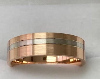 Two Tone Gold Wedding Bands, Satin Finish Mens Wedding Rings ,10K,14K,18K White and Yellow Gold Wedding Rings, Two Tone Mens Wedding Bands
