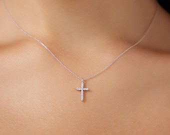 Diamond Cross Necklace ,14K Solid White Gold Diamond Cross Necklace, Minimalist Cross Necklace, Dainty Diamond Cross Necklace