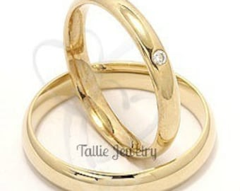 10K 14K 18K Solid Yellow Gold Wedding Bands, Matching Wedding Rings Set, His & Hers Wedding Bands, Diamond Wedding Rings,Plain Wedding Bands